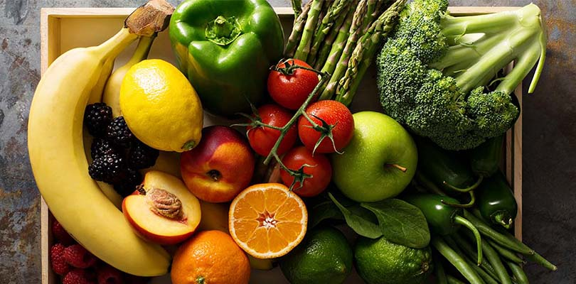 A basket of fruits and vegetables